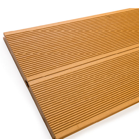 Classic teak-effect grooved composite decking - solid for extra strength