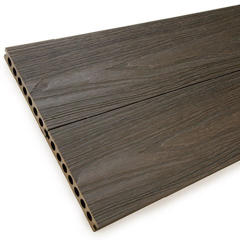 Walnut wood-effect composite decking boards