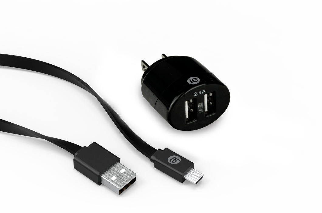 2.4 amp DUAL USB CHARGER & CABLE KITS, APPLE & ANDROID VERSIONS AVAILABLE
