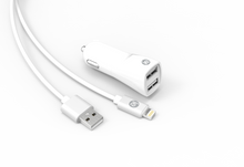 Load image into Gallery viewer, 2.4 amp DUAL USB CHARGER & CABLE KITS, APPLE & ANDROID VERSIONS AVAILABLE