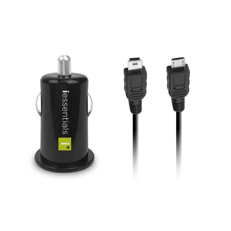 iEssentials USB Car Charger With Micro & Mini USB Cables Included