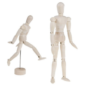 Wooden Movable Limbs Human Figure Model Artist Sketch Draw Model 11.4/14/20cm  isfang