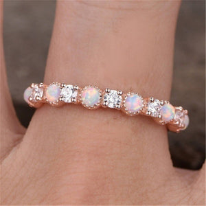 Women Fashion Gold Pop Diamond Natural Opal Ring Cute Party Wedding Engagement Party Jewelry