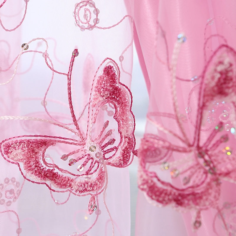 Butterfly Embroidery Net Curtain Pelmets Lace Tulle Voile Window Panel Drape Sheer