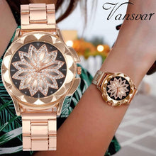 Load image into Gallery viewer, Luxury Design Flower Rhinestone Wrist Watch Women Casual Rose Gold Steel Belt Quartz Watch