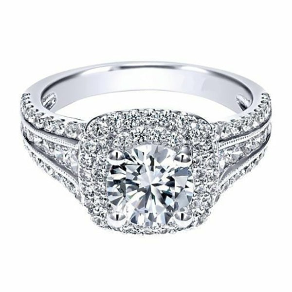 Exquisite 925 Sterling Silver In Gold Filled 3.20CT Diamond Double Halo Engagement Wedding Band Rings For Women Finger Jewelry Gift