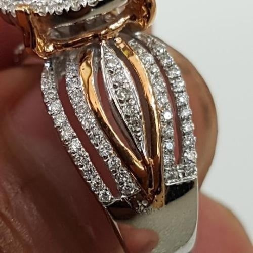 New Micro-inlaid Diamond 14k Gold Two-tone Ring European and American Luxury Ladies Banquet Engagement Ring Jewelry Gift