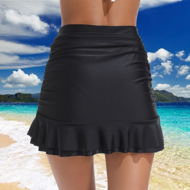 Women Solid Color Swimsuit Trunks Female Beach Vacation High Waist Swim Skirt