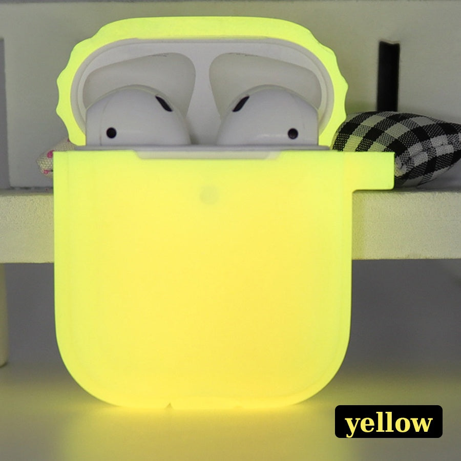 5 colors Luminous apple airpods2 protective cover Apple wireless Bluetooth headset silicone protective sleeve shatterproof storage box