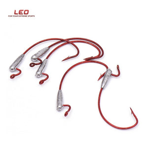 LEO Carbon Steel Worm Hooks Soft Lures Weighted Fishing Hooks Crank Shank Hooks for Bass Fishing Fishing Terminal Tackle 5 Pcs/lot