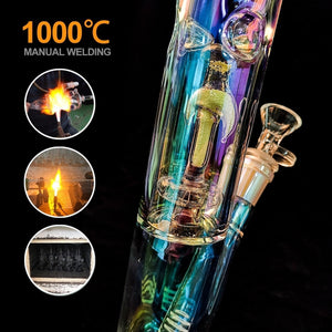 (2 Type) Handmade Luminous Glass Hookah Water Bomg Pipes Joint 14.5mm Bubblers for Smoking Recycler Tobacco Smoke Tool
