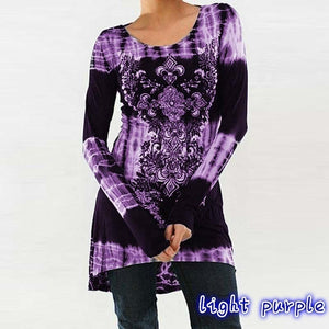 Womens Fashion Long Sleeve Round neck Printing T-shirt Dress Slim High Waist Tie Dye Tops