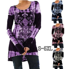 Load image into Gallery viewer, Womens Fashion Long Sleeve Round neck Printing T-shirt Dress Slim High Waist Tie Dye Tops