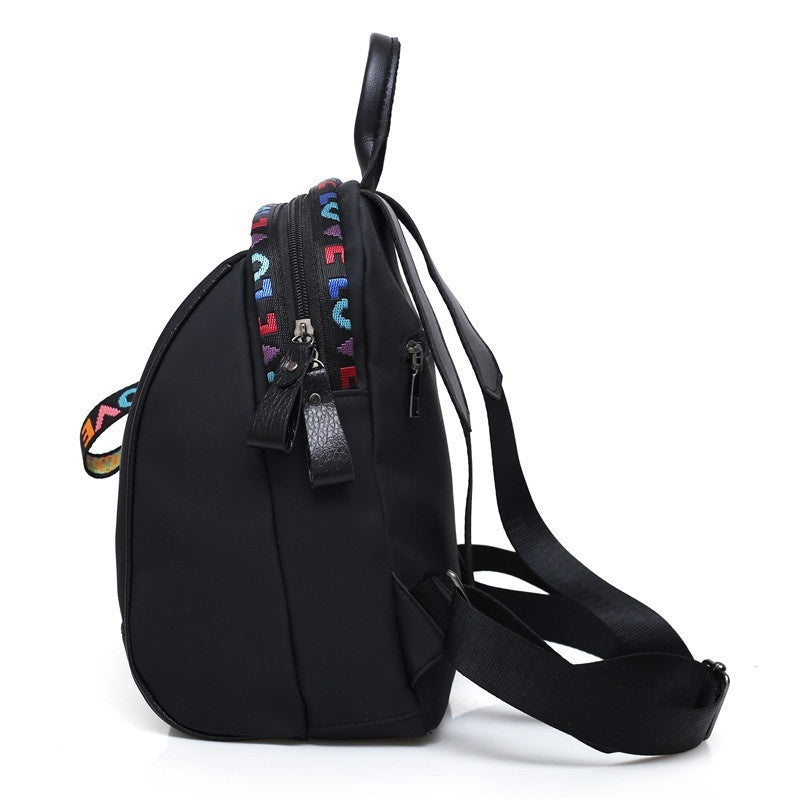 Women Casual Shoulder Bags Storage Fanny Pack School Bag Oxford Cloth Backpack Breathable Fashion Black