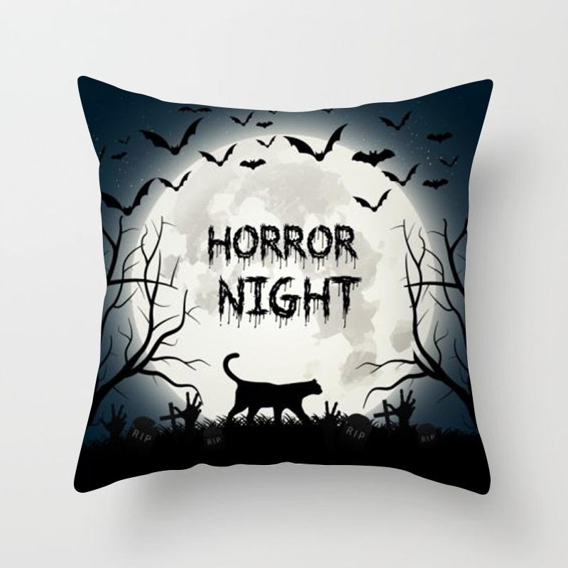 18'' Nordic Halloween Pumpkin Skull throw pillows case Cover for sofa official Magical Cat cushion cover Home Decorations 45x45CM