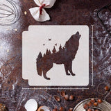 Wolf Forest Stencil Template - Reusable Stencil for Baking/Journal/Scrapbook / Pigment/Ink Pad/Spray/Hand Painting/Cloth//Wall /Furniture