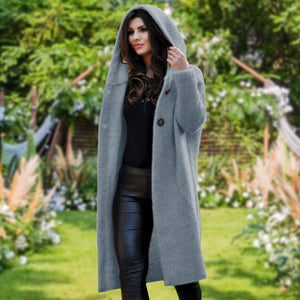 Autumn Winter Women Hooded Coat Cashmere Cardigan Sweater Coat Lady New Fashion Solid Color Coat Thick Soft Fashion Jacket Long Plus Size Overcoat