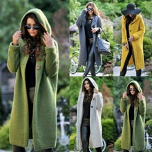Load image into Gallery viewer, Autumn Winter Women Hooded Coat Cashmere Cardigan Sweater Coat Lady New Fashion Solid Color Coat Thick Soft Fashion Jacket Long Plus Size Overcoat