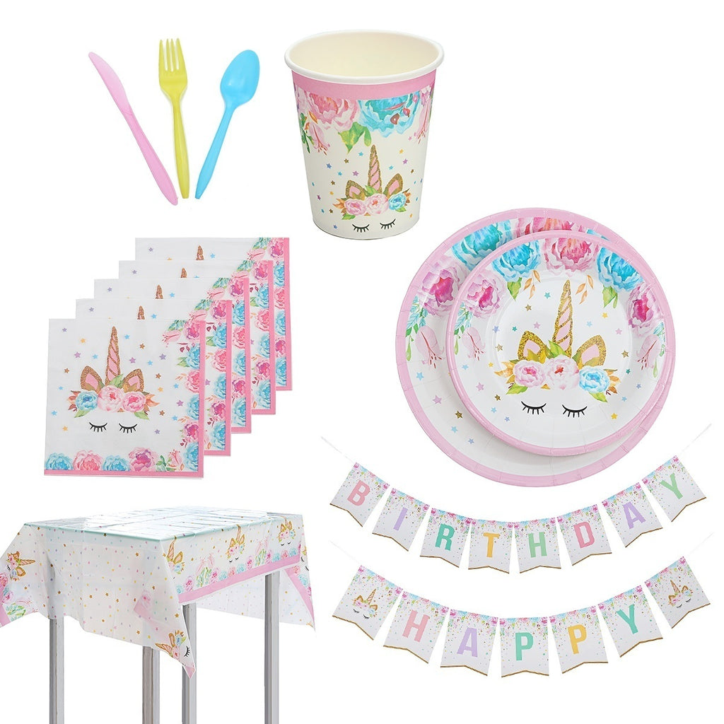 114PCS/Set Kids Party Supplies Party Tableware Decorations Set for 16 Guests