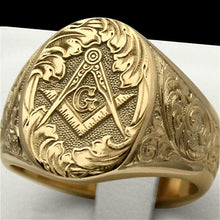 Load image into Gallery viewer, New 316L Stainless Steel Masonic Ring for Men Hip Hop Punk Gold Plating Masons Biker Ring Jewelry