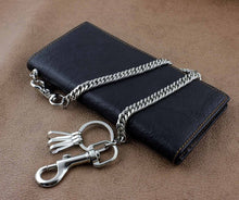 Load image into Gallery viewer, Men's Fashion Vintage Biker Real Leather Money Card Wallet W/ Chain Black