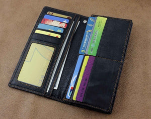 Men's Fashion Vintage Biker Real Leather Money Card Wallet W/ Chain Black
