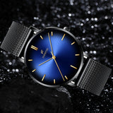 Fashion Mens Classic Wristwatch Herren Uhren Luxury Alloy Mesh Belt Ultra Thin Watches Montre Homme Casual Business Leather Quartz Watch Christmas Gifts for Men