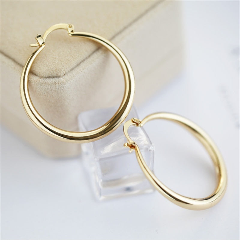 Exaggerated Dia. 33mm Gold Solid Silver Hoop Dangle Earrings Cocktail Party Punk Jewelry 1 Pair