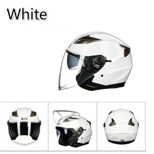 Summer Double Lens Motorcycle Helmets Half Face ABS Motorbike Helmet Electric Safety Helmet for Women/Men Moto Casque