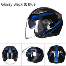 Load image into Gallery viewer, Summer Double Lens Motorcycle Helmets Half Face ABS Motorbike Helmet Electric Safety Helmet for Women/Men Moto Casque