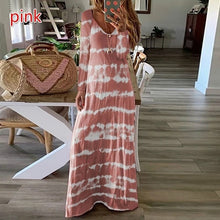 Load image into Gallery viewer, Plus Size Women Round Neck Printed Long Sleeve Striped Casual Long Dress Maxi Dresses
