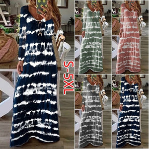 Plus Size Women Round Neck Printed Long Sleeve Striped Casual Long Dress Maxi Dresses