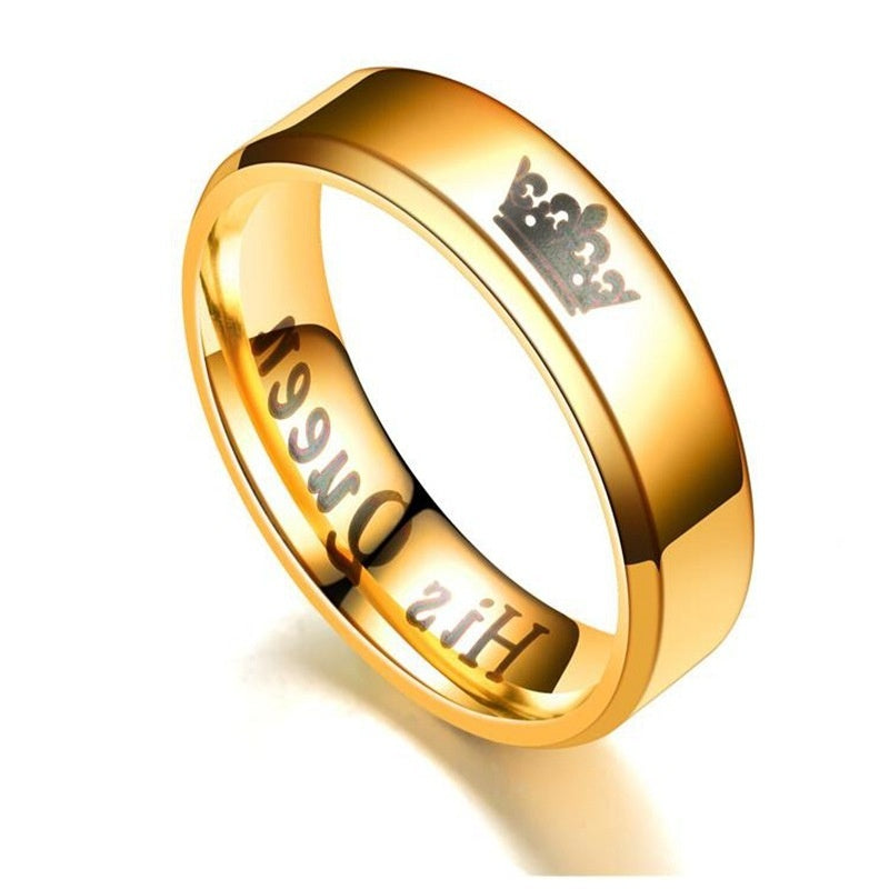 Popular Couple Ring Her King His Queen Fashion Titanium Steel Crown Men's and Women's Ring