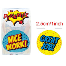 Load image into Gallery viewer, 8 Designs Reward Stickers 500Pcs per Roll Cartoon Words Cute Wow Nice Work Amazing Great Job Stickers School Teacher Student Children Stationery Sticker
