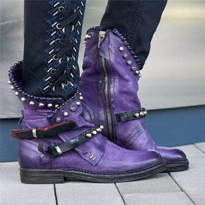 Women Mid-Calf Boots Autumn Winter Round Toe Vintage PU Leather Ladies Shoes Low Heel Rivet Cool Motorcycle Boots Plus Size