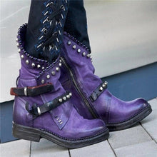 Load image into Gallery viewer, Women Mid-Calf Boots Autumn Winter Round Toe Vintage PU Leather Ladies Shoes Low Heel Rivet Cool Motorcycle Boots Plus Size