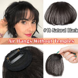 S-noilite Clip in Bangs Real Human Hair Extensions Natural Black Bangs Hair Clip in Fringe Straight Flat Bangs with Temples for Women