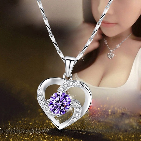 Women's Fashion Pendant Heart-shaped Pendant Simple Lock Chain Diamond Silver Pendant