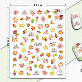 1 Sheet Nail Art 3D Decals Maple Leaves Autumn Theme Nail Sliders Decor Tips Leaf Sticker For Nail Art