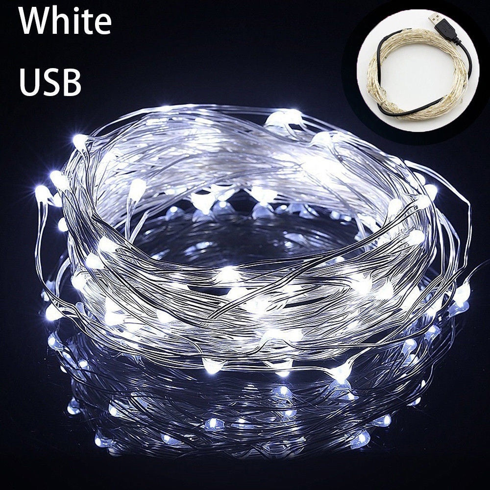 5/10M 50/100LED String light Silver Wire Fairy warm white Garland Home Christmas Wedding Party Decoration Powered by USB