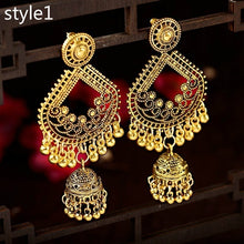 Load image into Gallery viewer, Ethnic Fashion Women Sector Gold Jhumka Earrings Indian Jewelry Ethnic Hippie Tribe Boho Bells Tassel Dangle Earrings