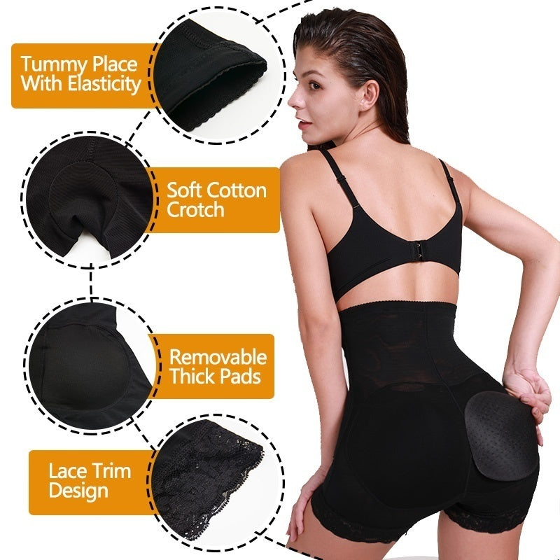 Women Lace High Waist Anti Chafing Seamless Soft Removable Padded Butt Lifter Tummy Control Underwear Pad Briefs Body Shaper
