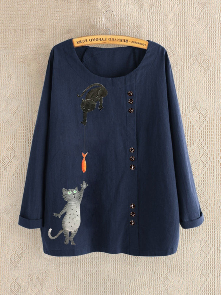 Women Casual Cat Printed Round Neck Tops Ladies Fashion Loose Long Sleeve Shirt Spring and Autumn Plus Size Blouses