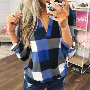 New Ladies Trending Clothes Casual V-neck Cotton T-shirt Long Sleeve Plaid Shirts Women Loose Blouse Plus Size Tops Chemise Femme
