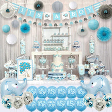 Load image into Gallery viewer, 143 Pieces Blue Elephant Baby Shower Decorations for Boy Party Supplies Kit with Guest Book It's a boy Banner Garland Paper Fans Lanterns Cake Toppers Sash Gift Tags and Balloons by Ajworld