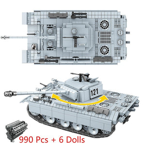 990 Pcs Military Panther tank 121 Building Blocks Fit  German Tank Bricks WW2 Army Police Soldier Weapon Toys Gifts For Children
