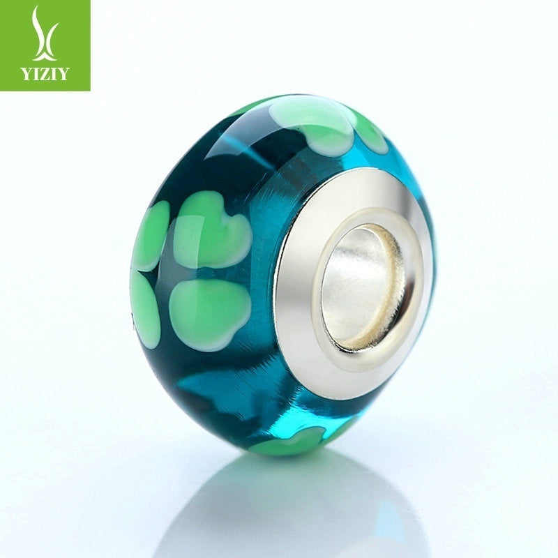 DIY European Green Heart Glass Beads Fit Beads Bangles & Bracelets Silver Color Jewelry Findings
