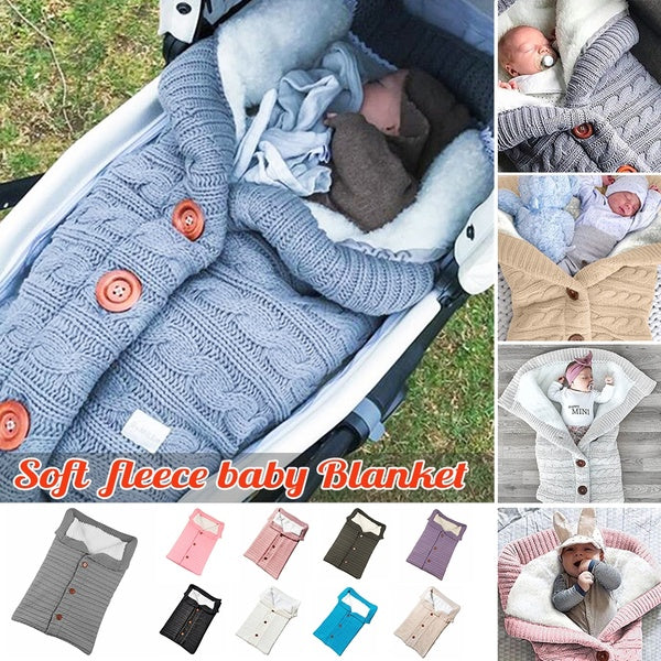 Winter Autumn Newborn's Pram Stroller Fashion Warm Knitting Sleeping Bag Baby's Soft Outdoor Sleeping Blanket  Infant Knit Swaddle Towel