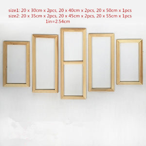 Fashion5 Panel Wood Frame Set for Canvas Oil Painting Factory Price Wooden Frames DIY Inner Frame for painter gallery