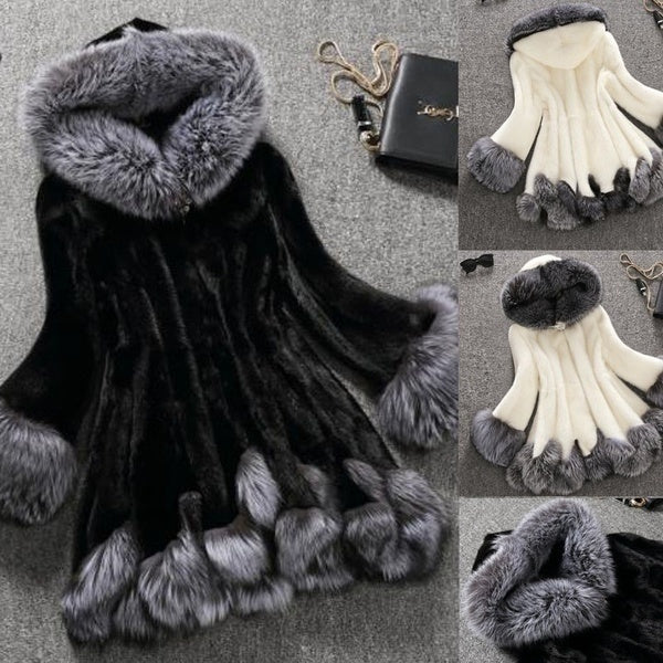 Women Fashion Elegant Long Faux Fur Coat Fluffy Jacket Winter Women Thick Warm Faux Fur Coats with Furry Hooded